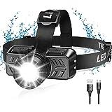 Cocoda Lampe Frontale LED, USB Rechargeable 600 Lumens Lampe Frontale Puissante avec Zoomable et Pivotant à 90°, 4 Modes D'éc