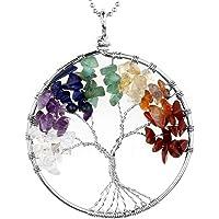 JOVIVI Ciondolo con gemme chakra a forma di albero della vita, ciondolo con catenina da 56 cm, collana unisex con albero…