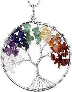JOVIVI Ciondolo con gemme chakra a forma di albero della vita, ciondolo con catenina da 56cm, collana unisex con albero della vita