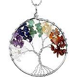JOVIVI Ciondolo con gemme chakra a forma di albero della vita, ciondolo con catenina da 56cm, collana unisex con albero dell