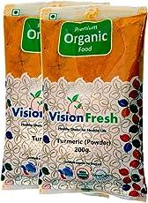 Vision Fresh Organic Turmeric Powder (Haldi) - 400 Grams Pack of 2 (200 Gram Each)