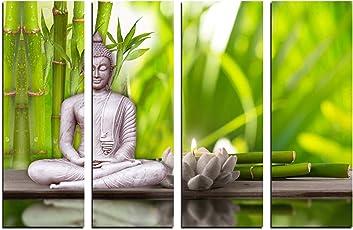 eCraftIndia 4 Panel Meditating Buddha Premium Canvas Painting (100 cm x 1 cm x 61 cm, Set of 4, CPGKB2108)