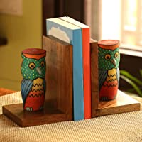 ExclusiveLane 'Owly-Guards' Owl Décor Book Holders Stand Case and Wooden Home Decorative Kids Room Office Heavy Book End…