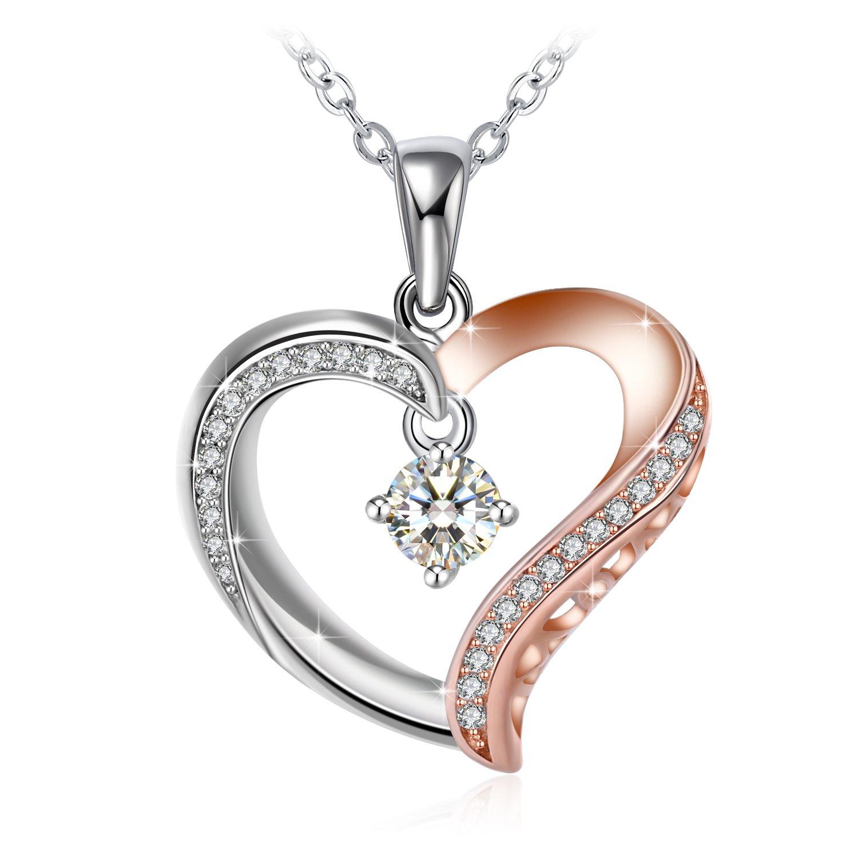 J.Rosée Colgante Mujer, Collar Plata de Ley 925 Brillante Circonita Corazón Rosa Cadena 45cm-50cm con Hermosa Caja Regalos