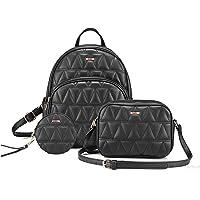 SaleBox® Fashion Girls 3-PCS Fashion Cute Stylish Leather Backpack & Sling Bag Set for Women, School & College Girls…