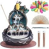 SALKING Bruciatore incenso a cascata, Ceramica porta incenso a riflusso, Bruciatore di incenso a flusso inverso con 100 Coni