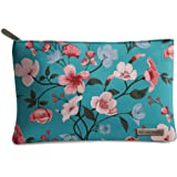DailyObjects Turqoise Blooms Regular Stash Pouch