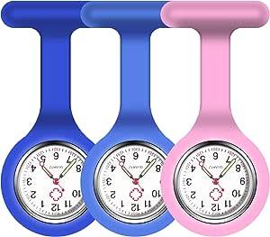 Vicloon Orologio da Infermiere, 3Pcs Orologio per Infermieri in Silicone con Spilla, Infermieri Fob Medical Watch Quandrante Rotondo, Orologi da Tasca per Medici e Infermieri Paramedico