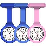 Vicloon Orologio da Infermiere, 3Pcs Orologio per Infermieri in Silicone con Spilla, Infermieri Fob Medical Watch Quandrante