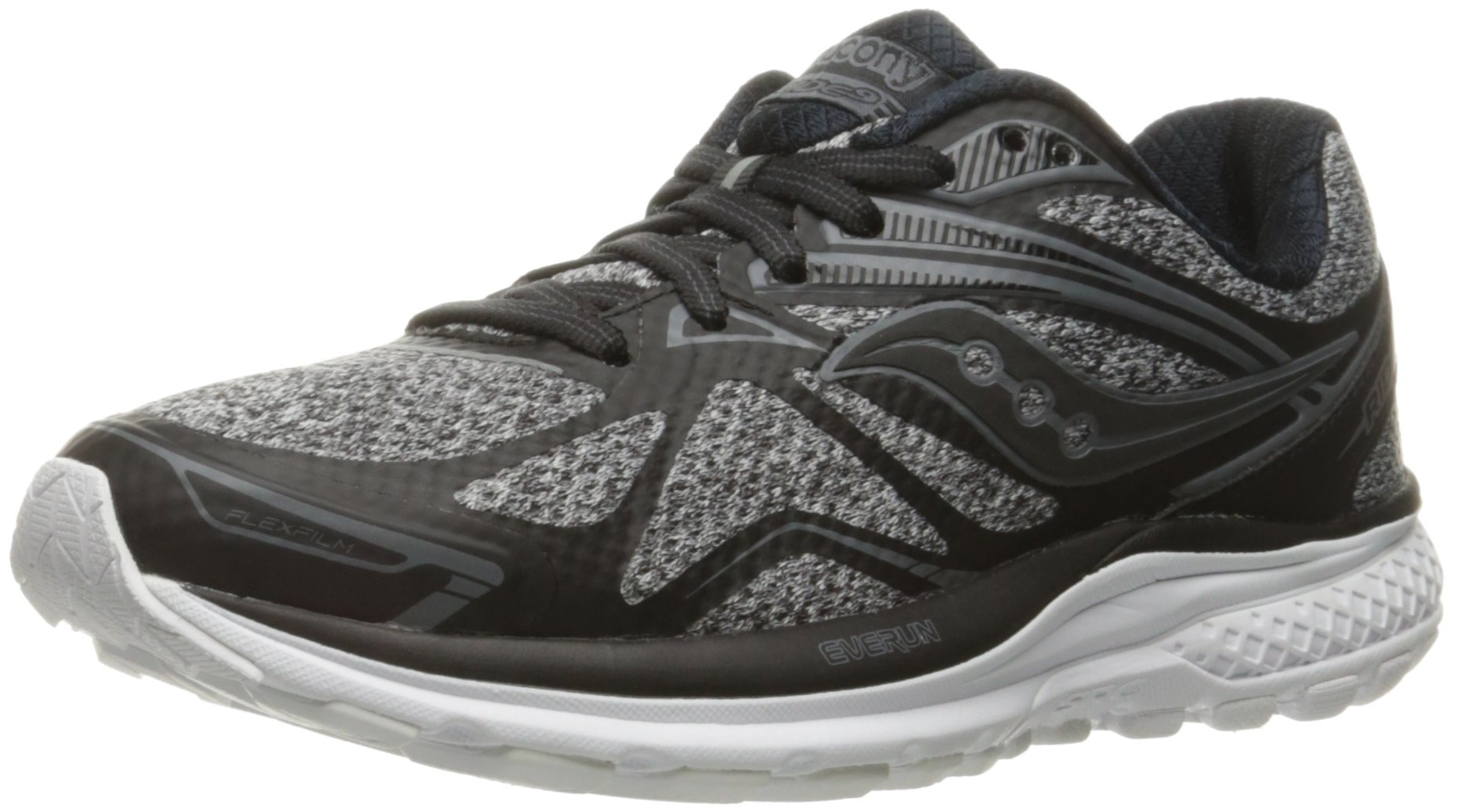 71Ee0MaNjfL - Saucony Women's Ride 9 Lr Running Shoe, Grey/Black, 5 M US