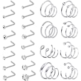 YADOCA 26-40 Pezzi 20G 316L Acciaio Inossidabile Naso Stud per Uomini Donne A Forma di L Curvo Piercing al Naso CZ Intarsiato