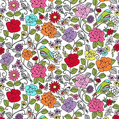 Fat Quarter Spring Fling Floral Birds Cotton Quilting Fabric - Michael Miller