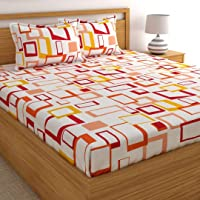Home Ecstasy 100% Cotton Double bedsheets with 2 Pillow Covers Cotton, 140tc Geometric Multicolour bedsheets for Double Bed Cotton (7.3ft x 7.7ft)