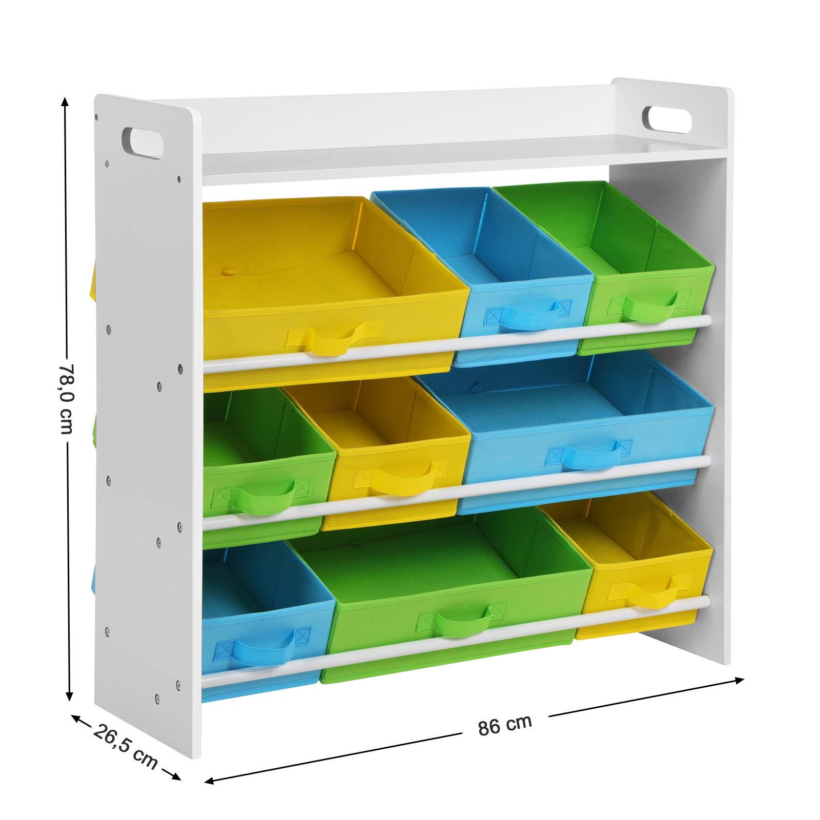 Songmics scaffale per giocattoli con 9 contenitori di for Contenitori per giocattoli ikea