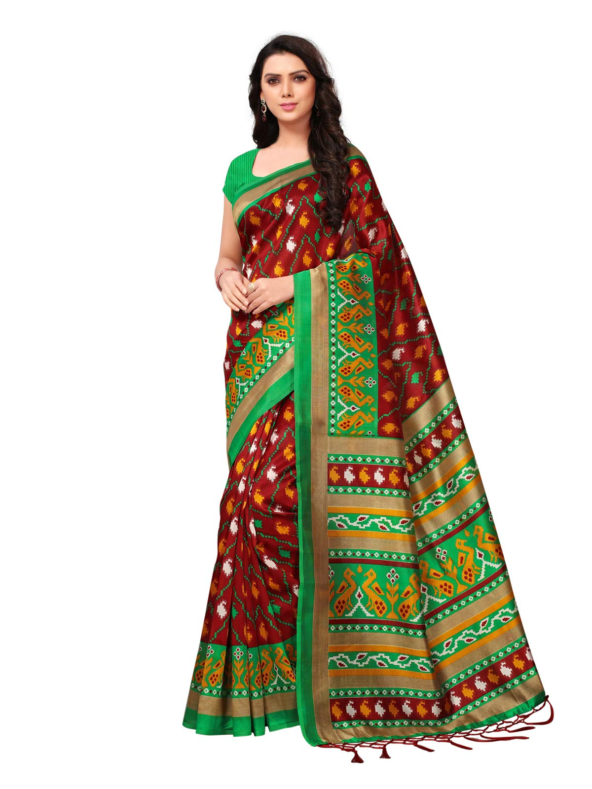 Kanchnar Women's Maroon Poly Silk Printed Saree735S23