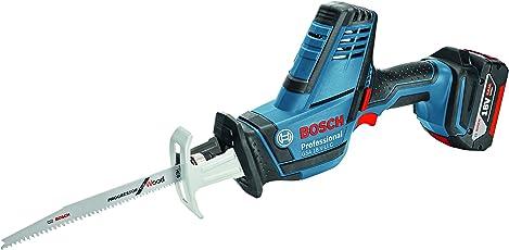 Bosch Professional Akku Säbelsäge GSA 18 V-LI C (2x 5,0 Ah Akku, Ladegerät, 3x Sägeblatt, L-Boxx, Schnitttiefe in Holz/Stahl: 200 mm/16 mm, 18 Volt)
