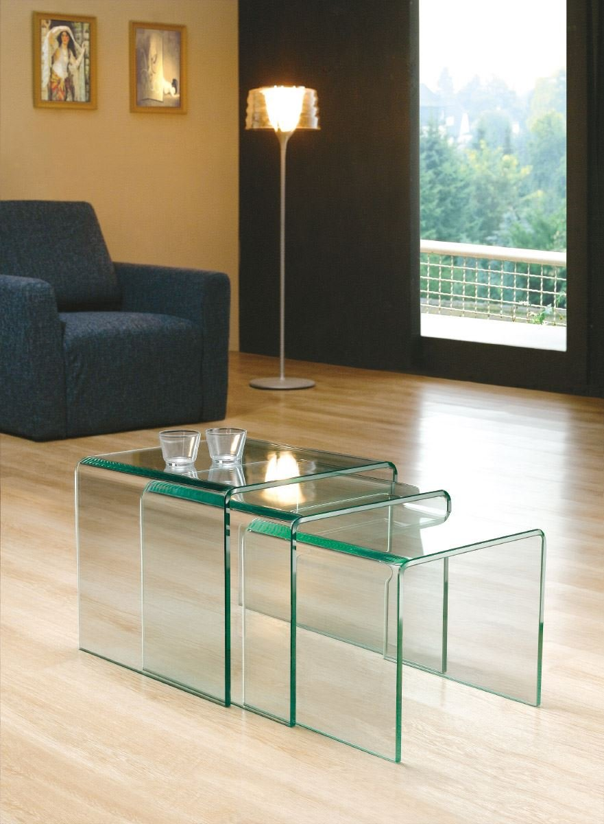 milan bent glass nest of coffee tables clear 42 x 42 x 42 cm