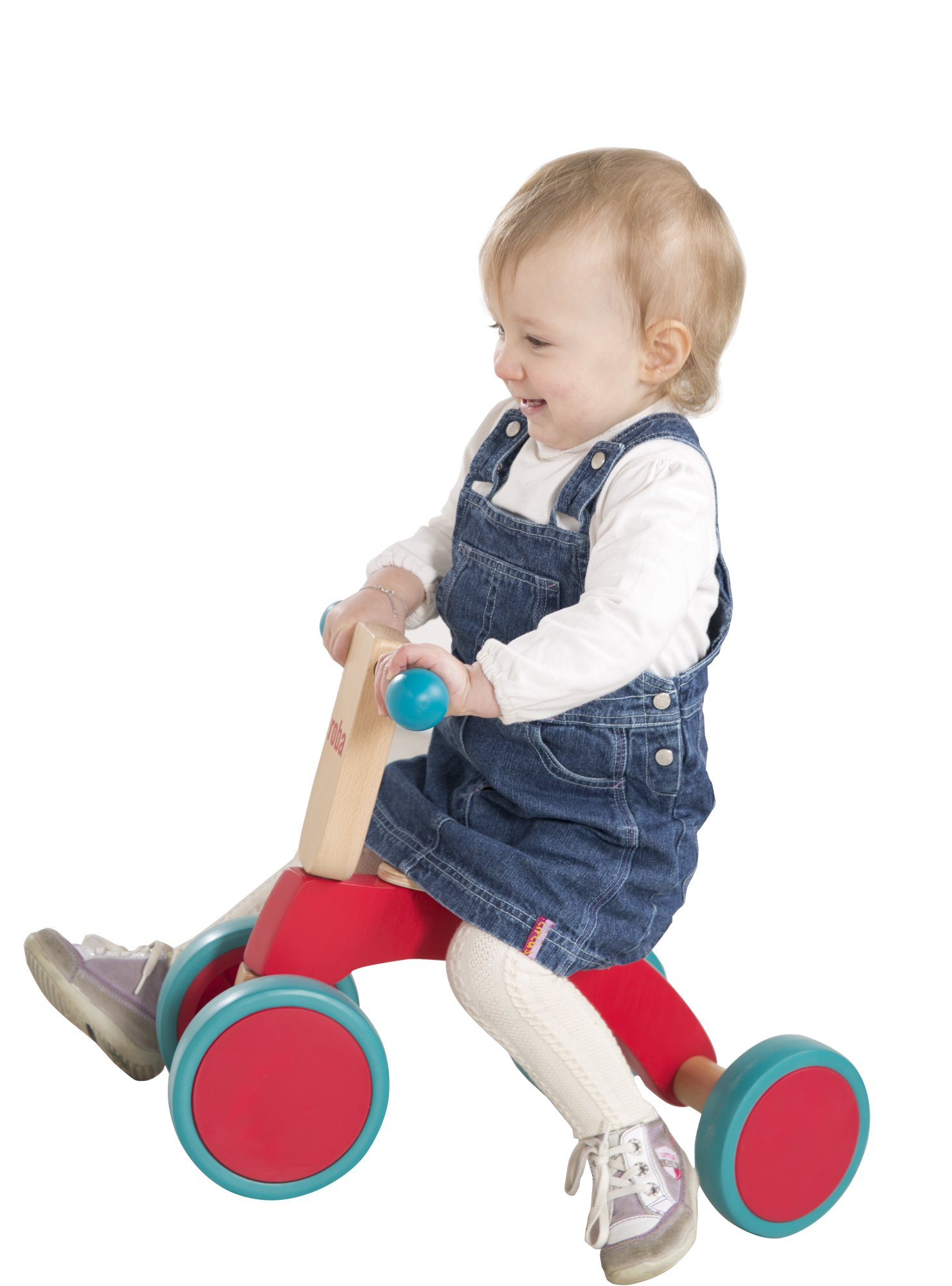 roba Wooden Vehicle for Toddlers from 1Year Old  This Roba wooden vehicle is the ideal learner's bicycle from toddlers of 12months and over to learn about balance and body coordination while having fun. The vehicle has a soft padded seat that is 22cm in height, and is suitable for children who are 80cm tall and over. The large coloured rubber tyres made from soft material (won't harm the floor) ensures a secure grip and is easy to move forward – for indoor and outdoor use. 5
