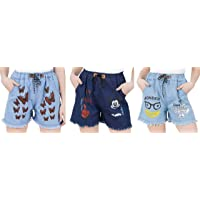 GSAMALL Rough Look Denim Shorts for Women's with Summer, Butterfly, Apna time aayega Print (Pack of 3)