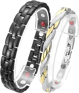 Jovivi, coppia di braccialetti magnetici, 2pezzi in acciaio inossidabile, bracciale magnetico, 4in 1, bracciali per amici, fidanzati, # 1