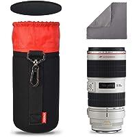 CADeN Camera Lens Bag Metal Hook of 7.5MM Thick Neoprene Soft Plush Lens Case 4th Generation Lens Bag(L)