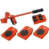 Meister 419900 - Rullo di trasporto per mobili, Portata massima 150 kg ciascuno, Rosso, Set da 5 pezzi