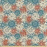 ABAKUHAUS Rot und Blau Satin Stoff als Meterware, Hippie