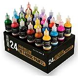 24 Botellas de Pintura 3D Textil y Tejido - Aprieta sobre los Tubos (29mL) para Extender Pintura para Ropa (Algodón) - Person