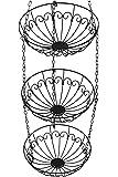 Chefarone Obstkorb zum Hängen - 130cm Küchenampel für mehr Platz auf Ihrer Arbeitsplatte - Obst Hängekorb Küche - Obstschale hängend (schwarz)