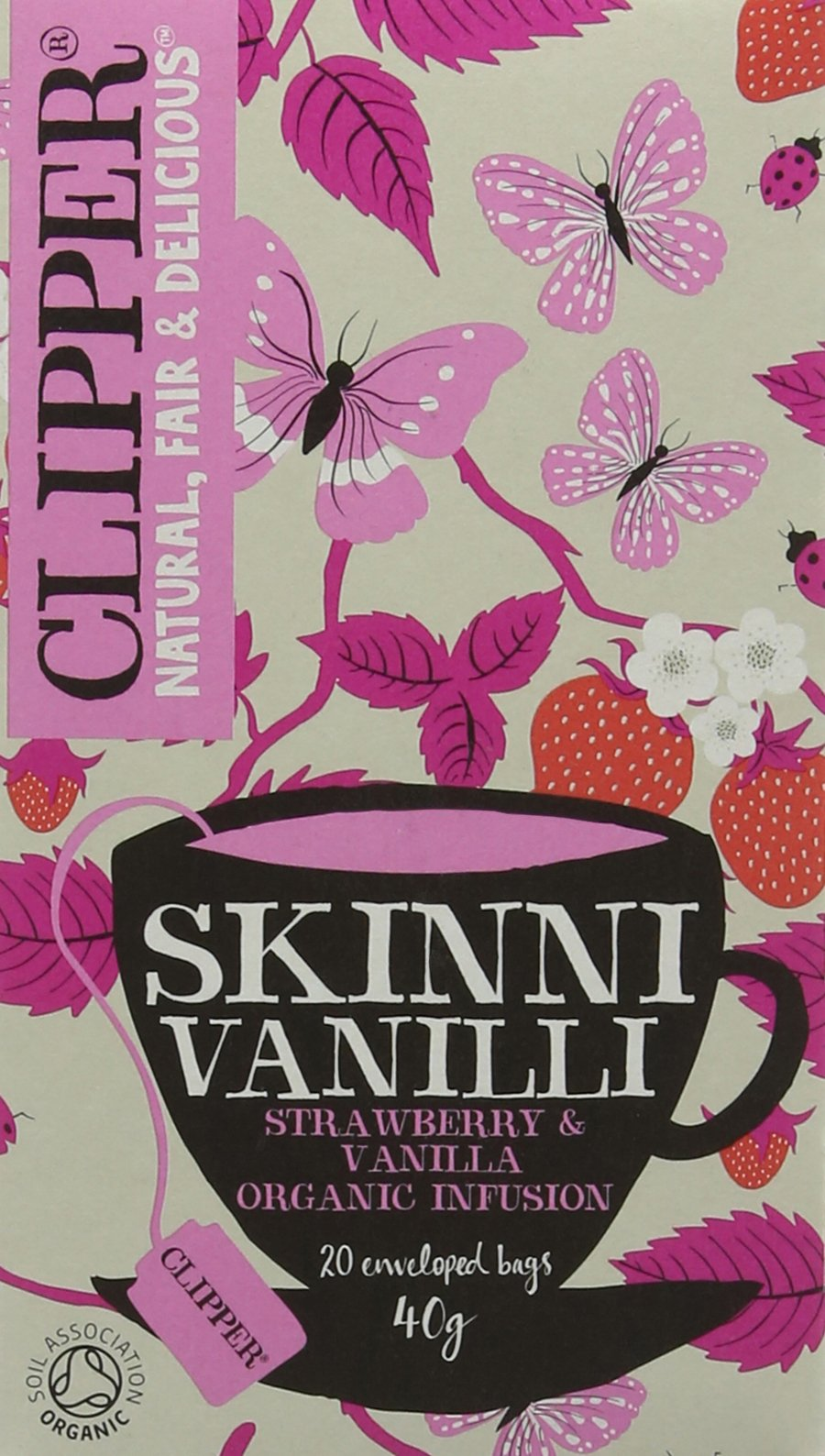 Clipper organic skinni tea bundle (soil association) (rooibos tea) (6 packs of 20 bags) (120 bags) (a floral, fruity tea with aromas of hibiscus, liquorice, rosehip, strawberry) (brews in 3-5 minutes)