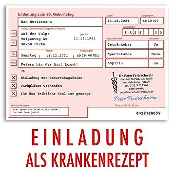 Einladungskarten Geburtstag (40 Stück) ärztliches Rezept Verschreibung  Krankenrezept Geburtstagskarten Geburtstagseinladungen Karte Einladungen  Gestalten ...