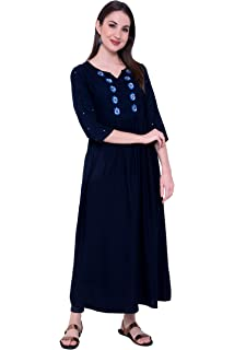 Arayna Women's Long Embroidered Hand Work Rayon Kurti, Navy Blue