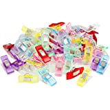 Hengsong Lot de 50pcs Clips Pinces en Plastique pour Reliure Couture Artisanat Couleurs Assorties