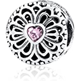 Abalorio de amor y amistad, color rosa, cuarzo y plata de ley 925, compatible con pulseras europeas