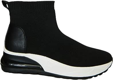 inblu IENNE Sneakers Scarpa Calza Donna Elasticizzata Comoda Leggera Zeppa 5 CM Sottopiede in Tessuto Imbottito Estraibile Articolo IN-249 Nero