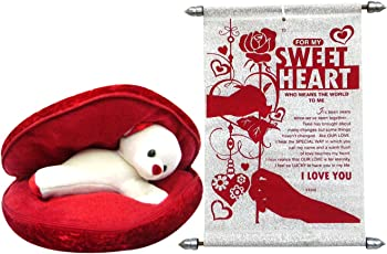 Saugat Traders Plush Teddy Bear in Cushion with Love Scroll Card (Red)
