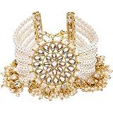 Zaveri Pearls Gold Tone Pearls & Kundan Designer Bracelet For Women-ZPFK9167