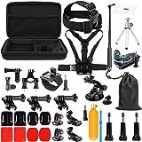 SHOOT Accessories Pack 45 en 1 Kit Selfie Bâto,Étui de Transport pour GoPro Hero 7 Noir Argent Blanc/6/5/4/3+/3/Hero(2018)/Fusion Crosstour Campark Nouveau APEMAN WiMiUS TecTecTec YI 4K AKASO
