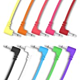 """ExcelValley - 10 Pack - Cables de Conexión Mono Modulares de Ángulo Recto - 3,5mm 1/8"""" Eurorack Sintetizador - 30 cm - 11.81"""""""