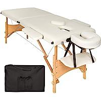 TecTake Table de massage 2 zones pliante cosmetique lit de massage portable + housse de transport - diverses couleurs au choix - (Beige | No. 401462)