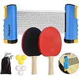 FBSPORT Set da Ping Pong, Set di Racchette Ping Pong,2 Racchette da Ping Pong, Rete Estensibile, 6 Palline da Ping Pong…