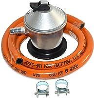 S&M 321771 Regulador de Gas Butano Goma M + 2 Abraz, Gris/Naranja, 1,5 Metros de Tubo