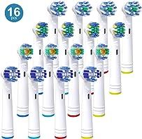 Pacco da 16 Testine per Oral B, Compatibili con Oral B Pro 5000 Pro 6500, Include 4 Testine per una Pulizia di...