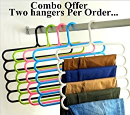 Woogor 2 Pcs Multipurpose 5 Layer Hanger for Cloths Shirts Ties Pants Jeans T-Shirt Sarees Suits Space Saving Hanger Cupboard Organizer Random Color