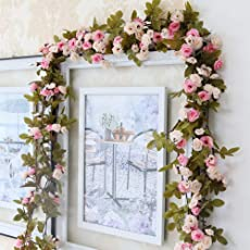 Artificial Rose Flowers Garlands Vintage Style 7.5ft Fake Rose Vines Hanging Flowers for Outdoor Indoor Wedding Wall Bedroom Valentine's Day Decoration