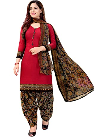 Crepe Unstitched Churidar Dress Material Synthetic Kameez Salwar Indian Suit
