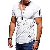 behype. Basic T-shirt voor heren, korte mouwen, V-hals, oversize-look, rits, 20-1791