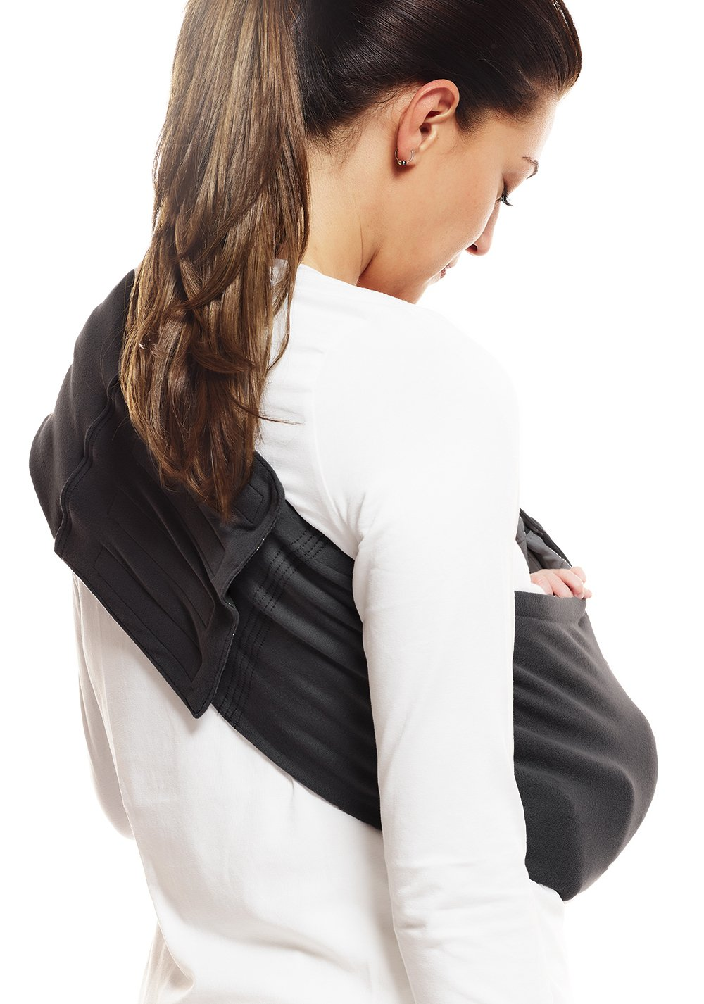 Wallaboo Wrap Sling Carrier Connection, Easy Adjustable, Ergonomic, 3 Carrying Positions, Newborn 8lbs to 33 lbs, Soft Breathable Cotton, 3 Sitting Positions, EU Safety Tested, Color: Black Wallaboo Ergonomically correct design with three natural positions: sleep, sit and active - one size fits all Can be used from premature baby through to 33lbs - with easy-to-use features like a full-front opening and an adjustable back Single piece of fabric, no straps, belts or buckles - Partly padded to give extra comfort - No wrapping, no hardware. Ready to wear 9