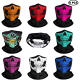 JAHEMU Motorrad Totenkopf Masken Multifunktionstuch Sturmmaske Schädel Maske Halloween Gesichtsmaske Bandana Schlauch Maske Skull Halstuch Kopftuch für Damen Herren Sport Motorrad Fahrrad 8 Stück