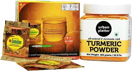 Urban Platter Health Combo Pack (Samahan Herbal Extract Tea, 50 Sachets + Urban Platter Curcumin Rich Turmeric Powder, 300g)